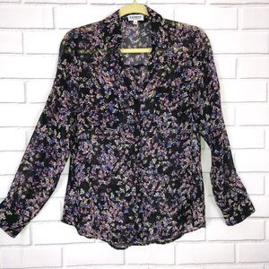 EXPRESS PORTOFINO SHIRT SZ M Black floral sheer